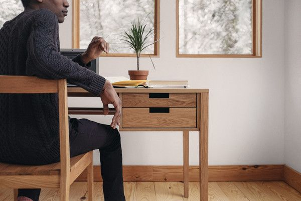 The updated work desk, the Draper has both practical functionality and understated style. Its clean lines and leggy silhouette adds contemporary elegance to any room. With two drawers and a back shelf for powerstrips, the Draper keeps your space organized so you can focus on starting that novel you've been meaning to write.