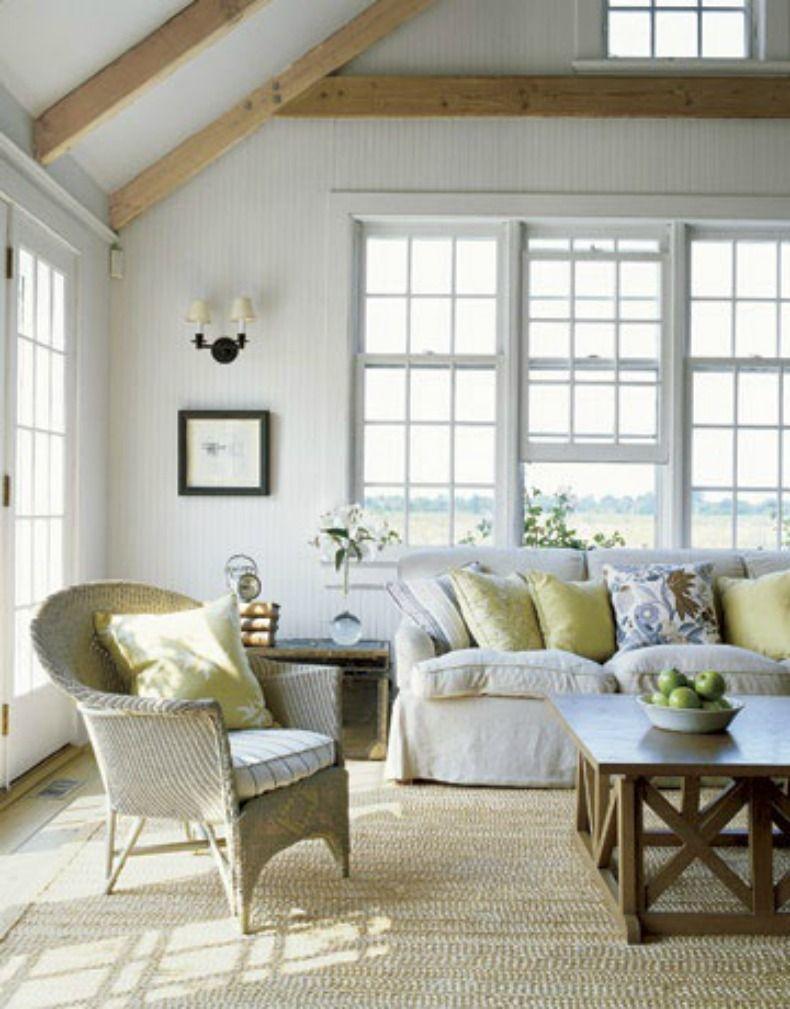 Coastal white slipcover sofa in living room   Living Room Design ...