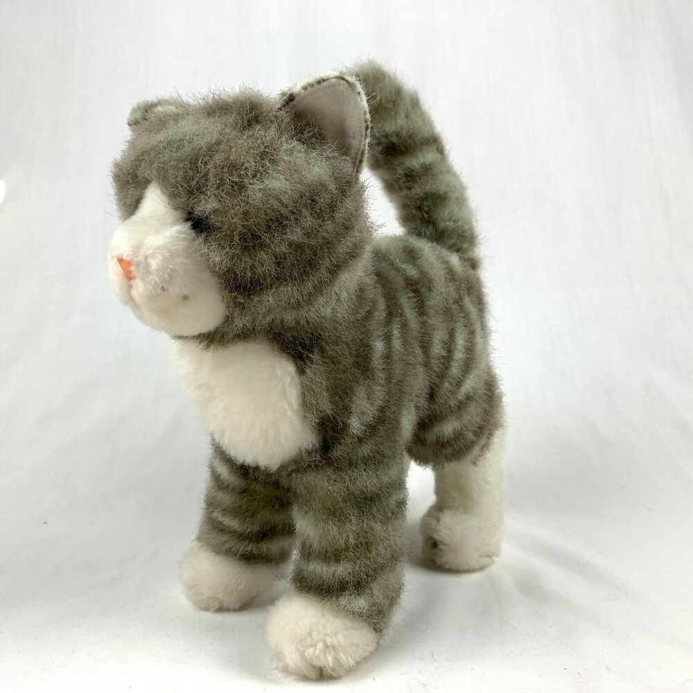 Douglas Zipper Gray Tabby Cat Plush Stuffed Standing Realistic Cuddle Toy Douglas Cuddletoy Plush Cat Kitten Tabbycat Grey Tabby Cats Cat Plush Tabby Cat