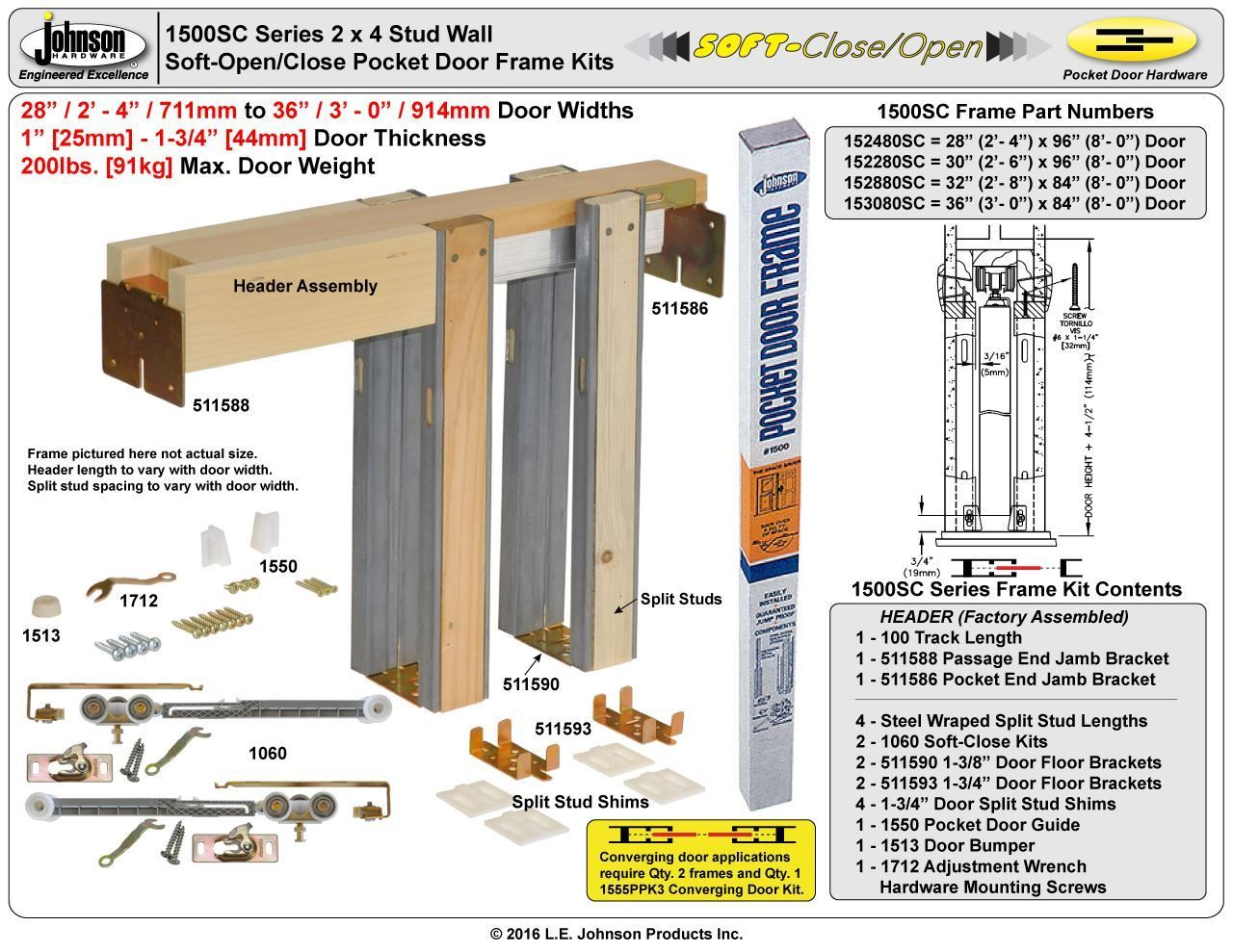 Johnson Hardware 1500sc Soft Close Pocket Door Frame