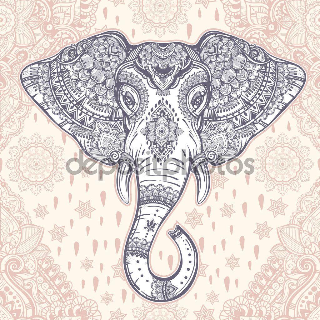 Богемные вектора этнической слон бесшовный фон — стоковая ...