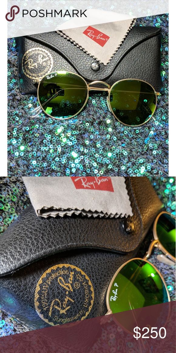 4178f8a82a38b 💚Ray-Ban Gold Sunglasses w case nwot Authentic Ray-Ban Round Gold  Sunglasses - Gold Frames Polarized Green Flash Lenses - New w o Tags.