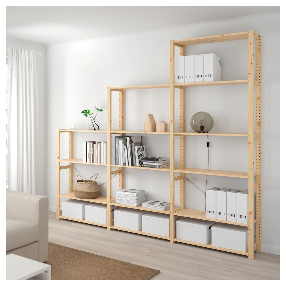 Ivar 3 Section Shelving Unit Pine Ikea Wall Shelving Units