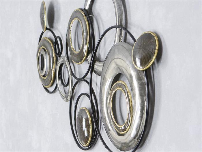Wand deko design art kreise ii aus metall breite 78cm for Deko wohnzimmer gold silber