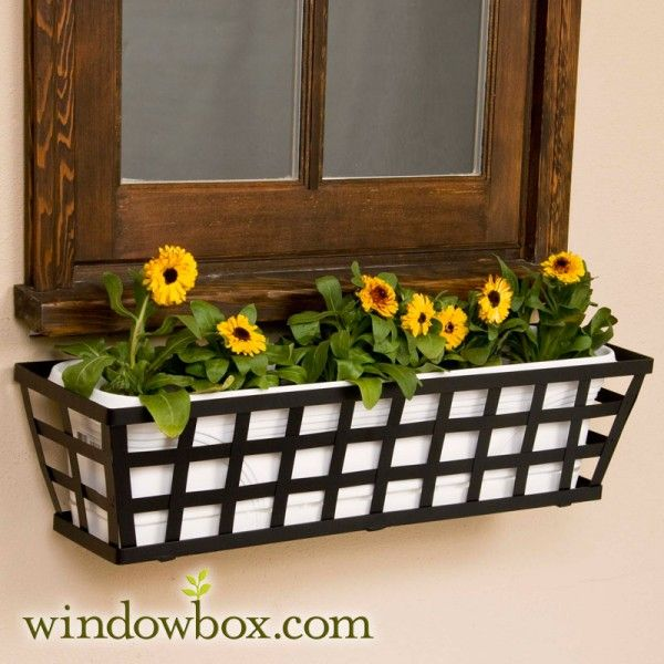 24in Santiago Tapered Iron Window Box W White Tapered Vinyl Liner Flower Boxes Window Box Flowers Wrought Iron Window Boxes