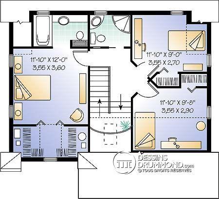 W2582 - Modèle de cottage champêtre, salle à manger formelle, suite