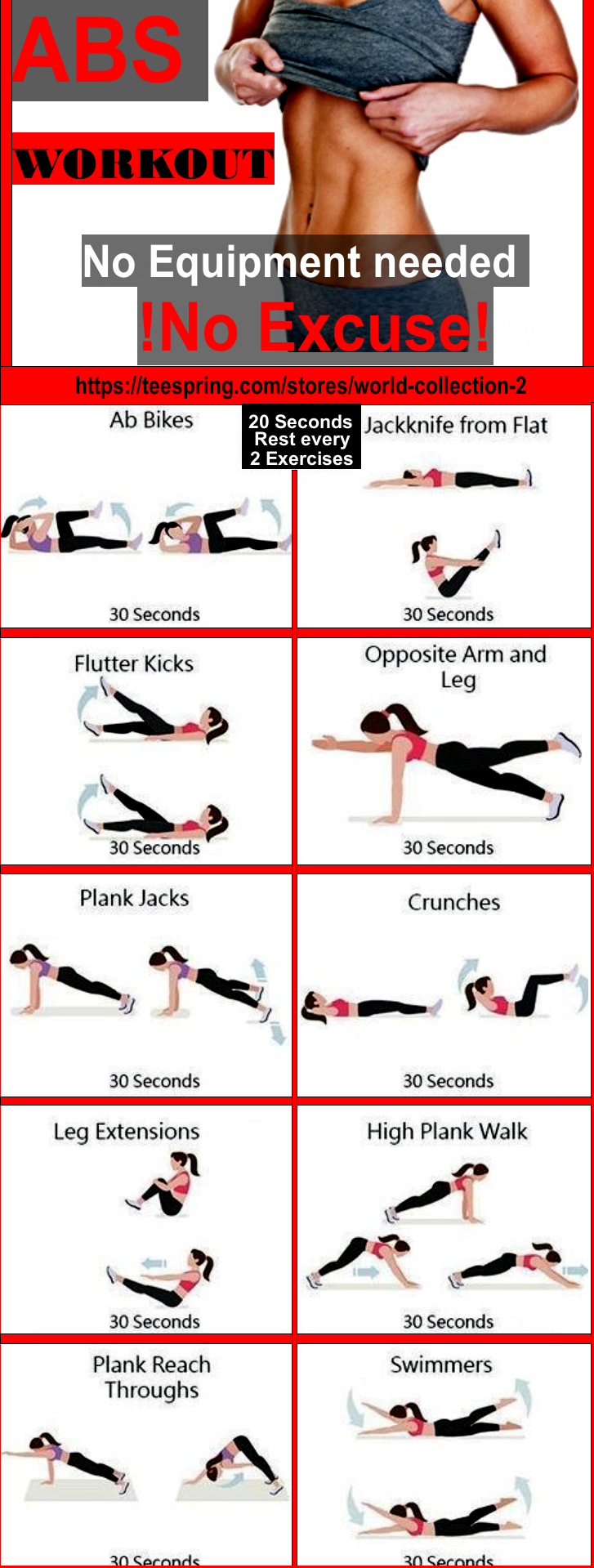 intense ABS Workout for Women's No Equipment NO EXCUSE ! #fitness #workout #abs