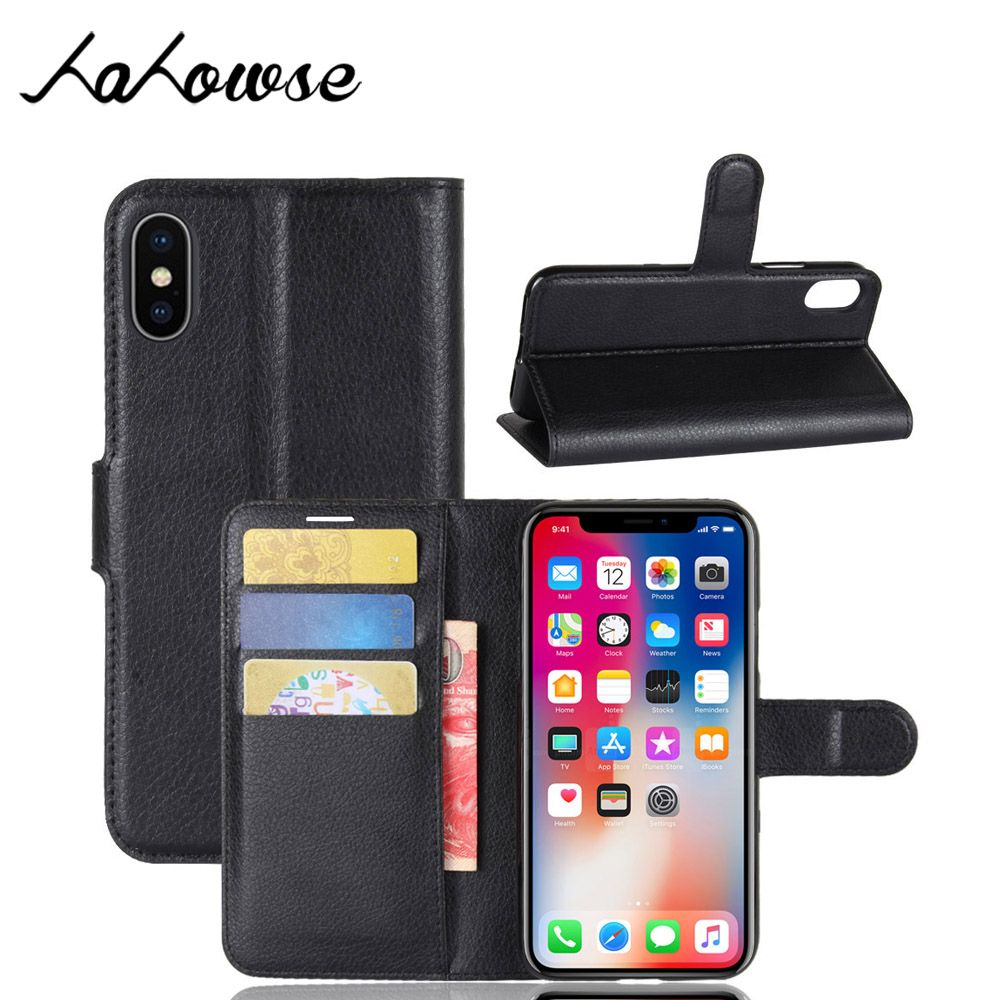Cover for Leather Luxury Business Cell Phone case Kickstand Card Holders Flip Cover iPhone X Flip Case