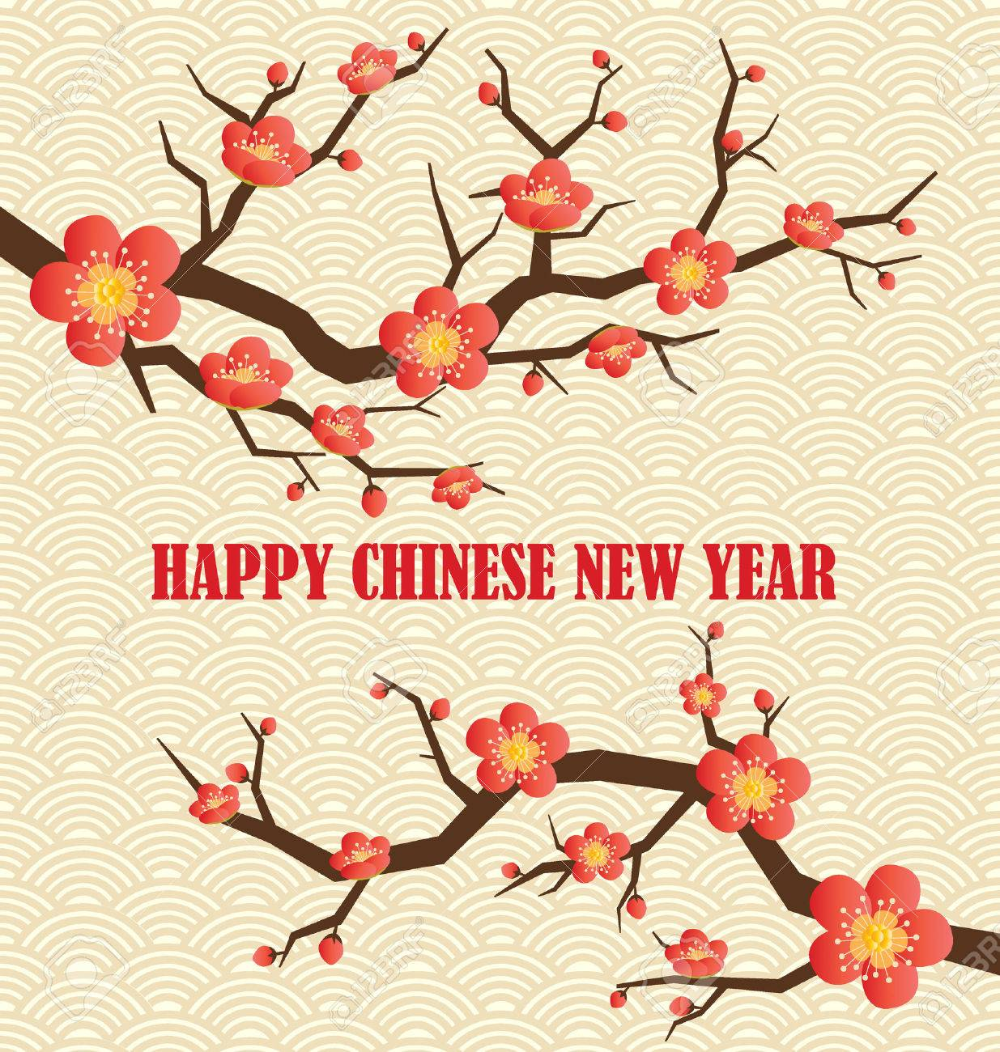 Chinese New Year Greeting Card. Vector Illustration. in