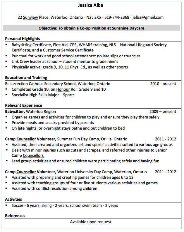 Babysitting On A Resume Sample Babysitter Resume  Httpexampleresumecvsample .
