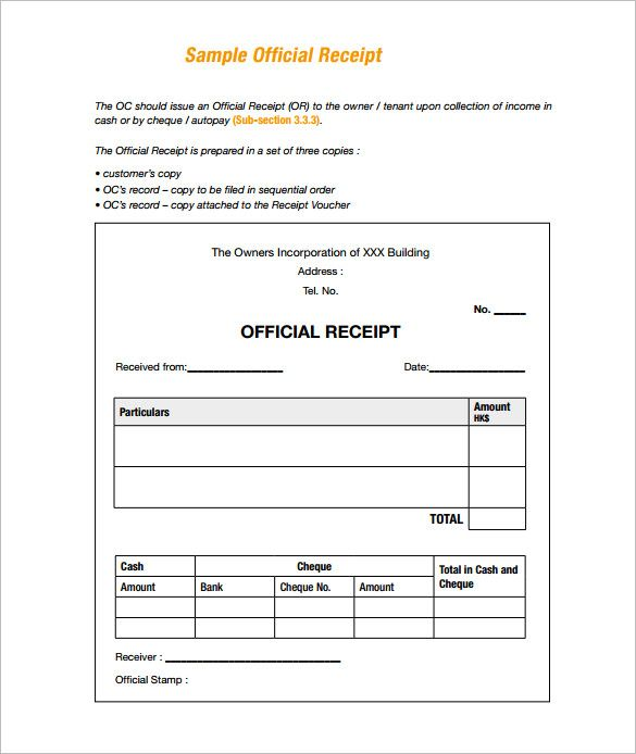 Sample Receipt Receipt Template Doc for Word Documents in – Sample Official Receipt