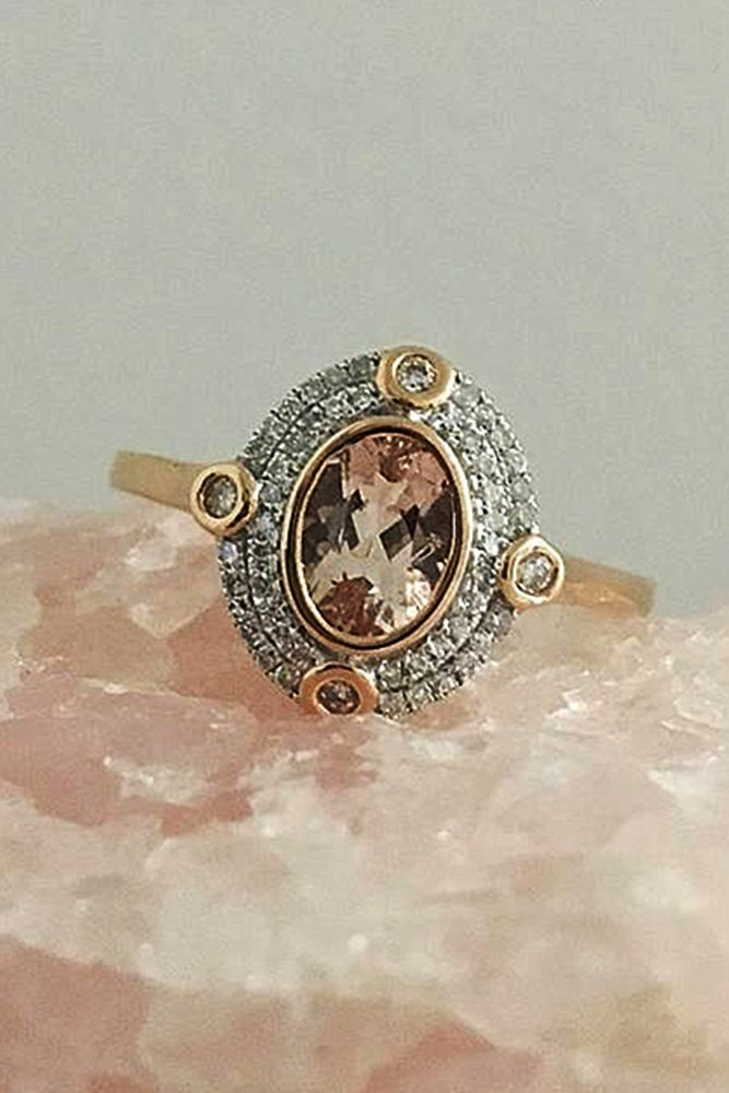 18 Cheap And Stylish Morganite Engagement Rings ❤ morganite engagement rings vintage halo rose gold oval ❤ More on the blog: https://ohsoperfectproposal.com/morganite-engagement-rings/