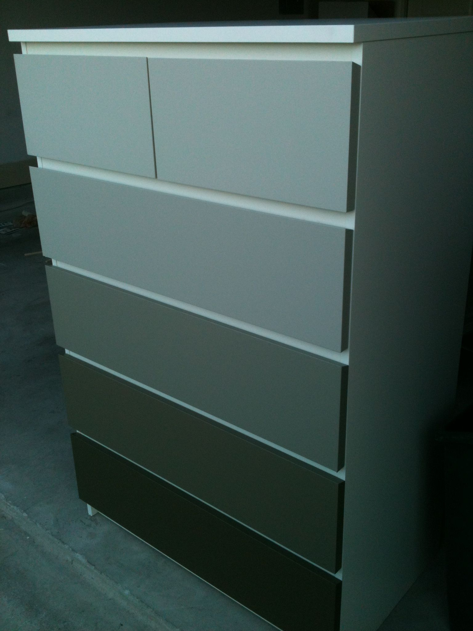 White Ikea Malm Painted In Shades Of Nice Gray Love Ikea Malm