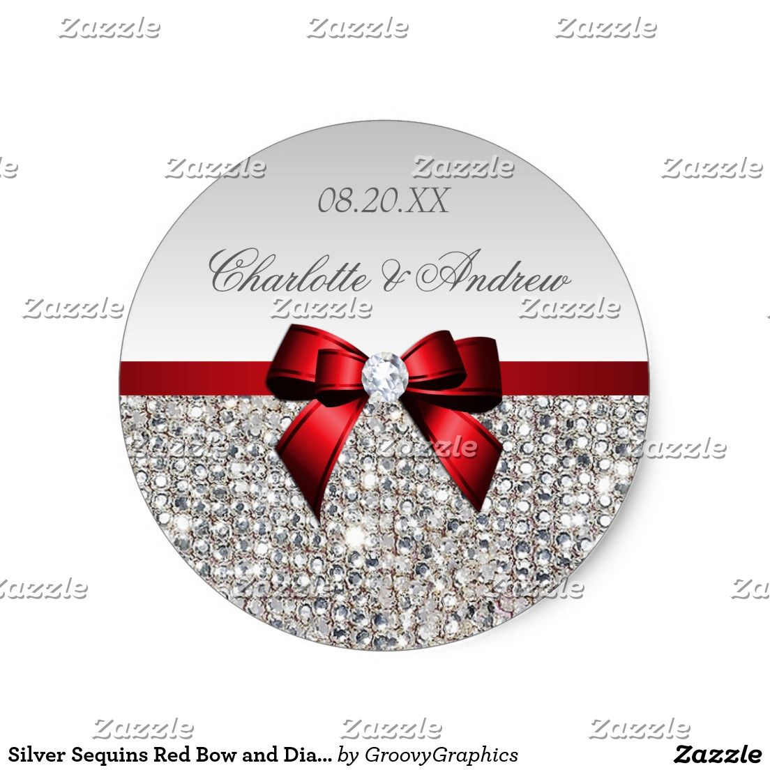 Silver Sequins Red Bow and Diamond Wedding Classic Round Sticker ...