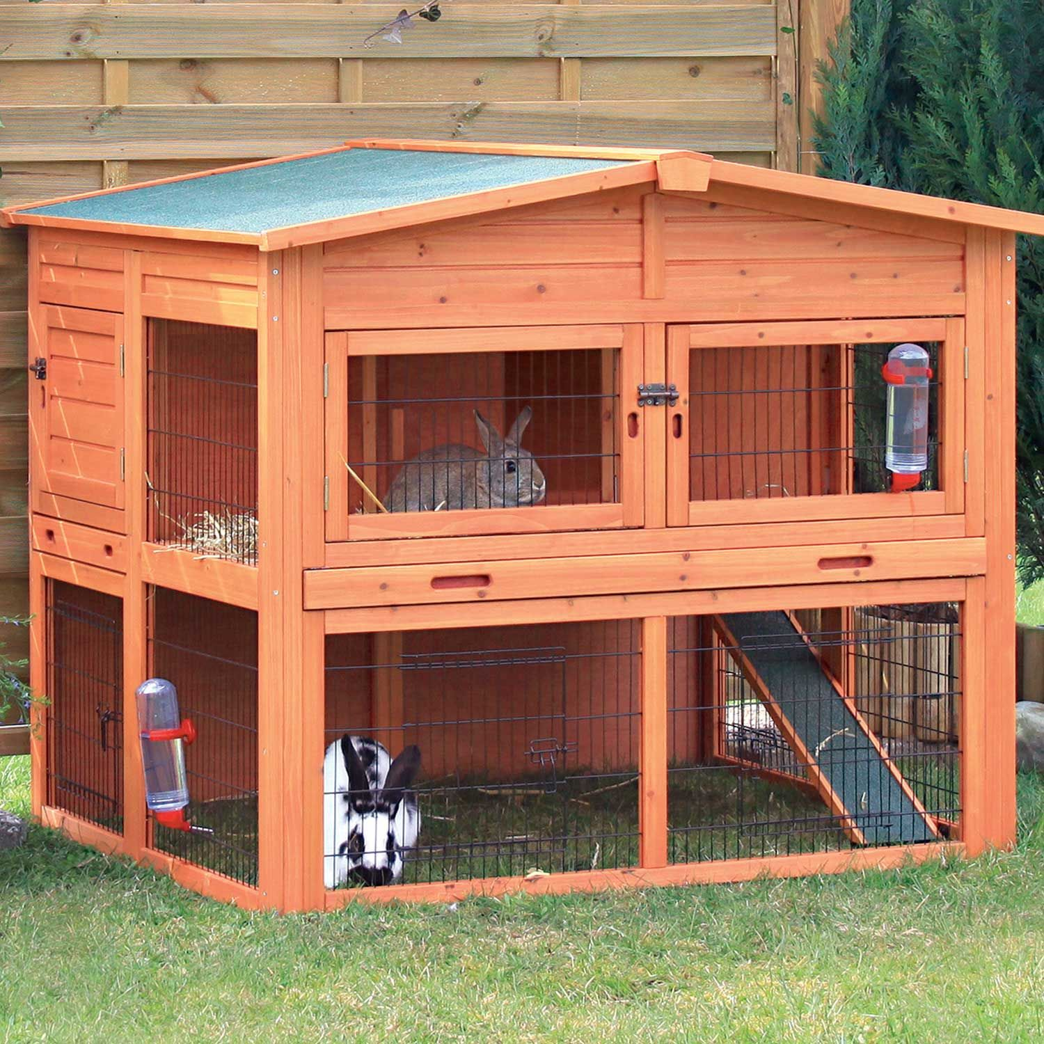 run cage large handmade sale dp supplies and hutch amazon guinea home uk hutches ferret double pawhut wooden co rabbit pet pig for house decker inch
