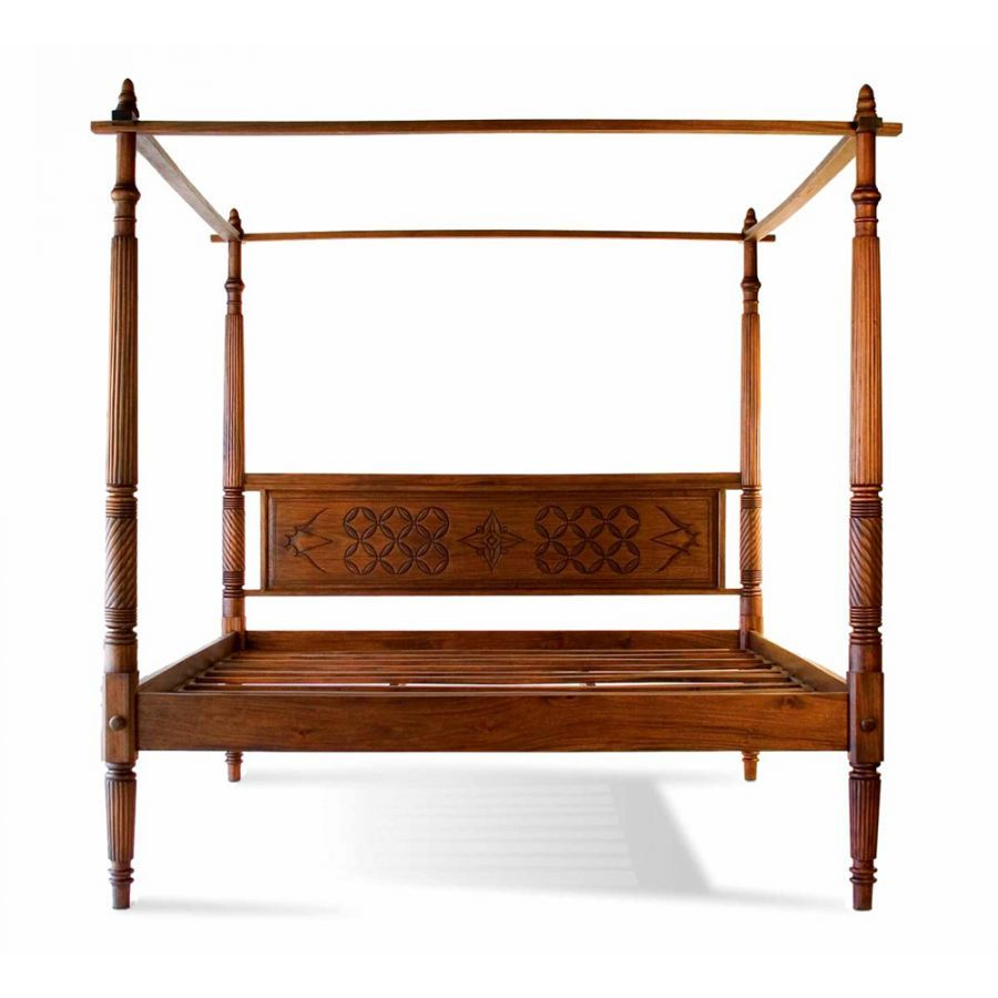Lotus Canopy Platform Bed Teak Wood Balinese And Canopy