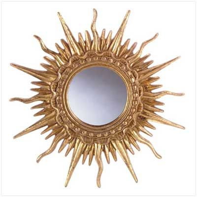 Fancy Sun Wall Mirror Description A Distinctive Wall Mirror This Sun Inspired Shape Is Gold Plated Ornately Desig Mirror Wall Sunburst Mirror Mirror Decor