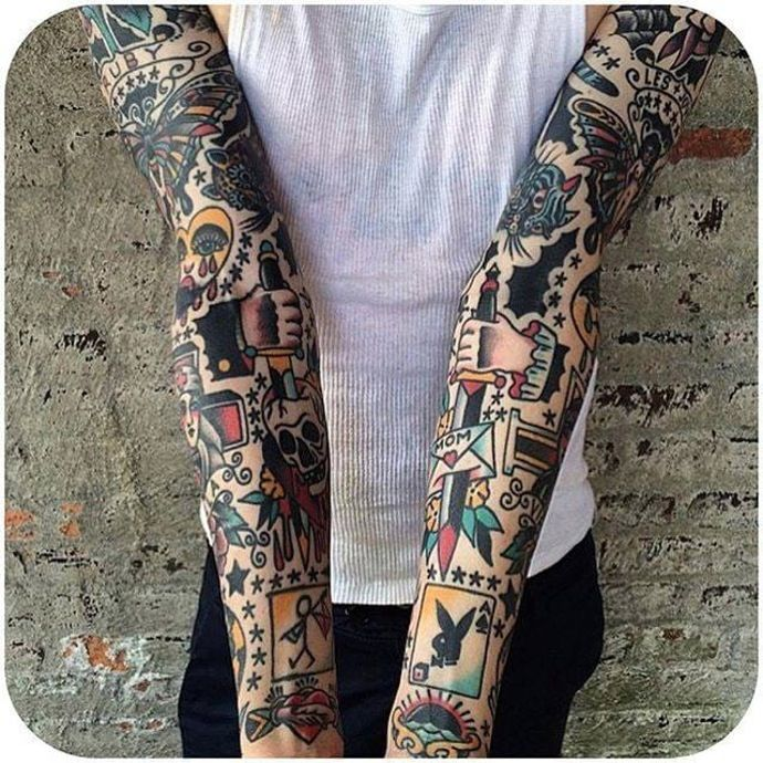 Bold Traditional sleeve made by Dan Santoro. (Instagram