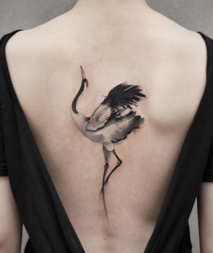 Watercolor Crane Tattoo C Tattoo Artist Chenjie Newtattoo Tattoos Ink Tattoo Picture Tattoos