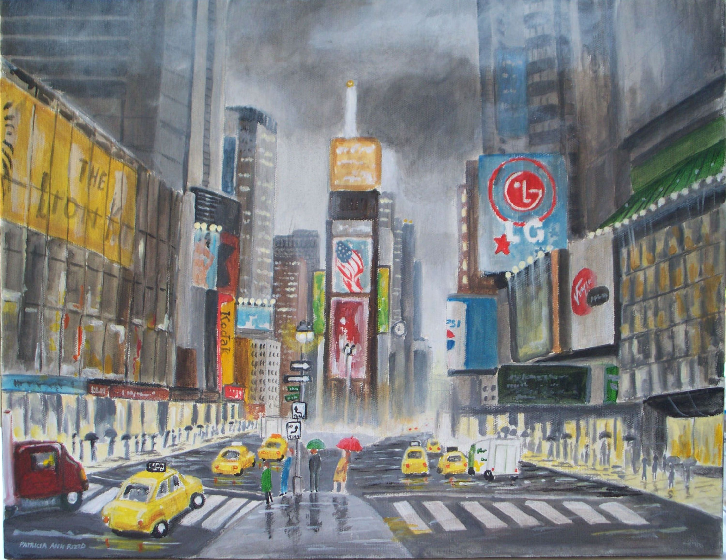 "For Sale: Nostaligic Look at Times Square  by Patricia Ann Rizzo | $250 | 18""w x 14""h 