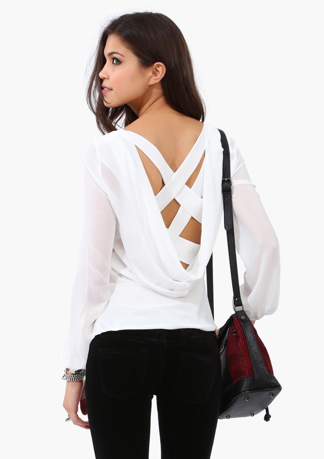 Criss Cross Blouse | Shop for Criss Cross Blouse Online, I love that this website lets you upload pics of how you wore their clothing it gives me lots of good ideas! loving the sophistication of this blouse and how it isn't over the top, clothing, chic, dinner party, formal wear