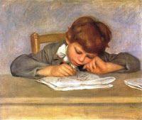 estudiante realiza lección http://www.pinterest.com/clperezrojas/escolar-school-days/