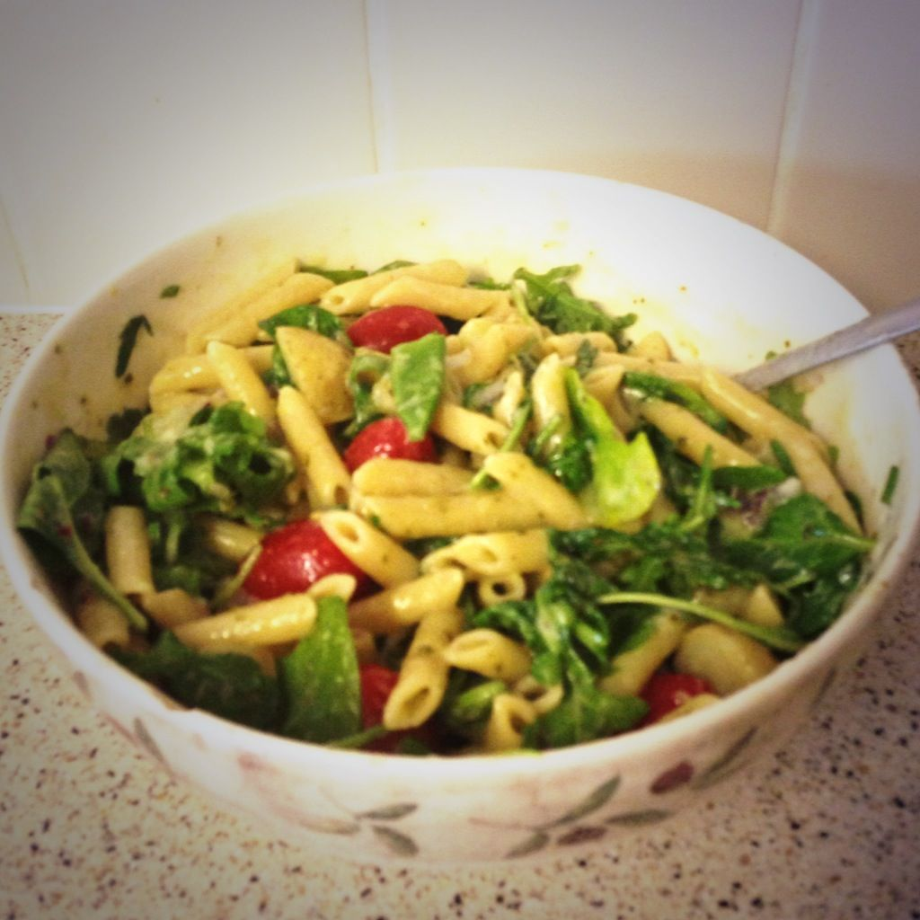 Pasta Genovese- cherry tomatoes, basil, spinach, sugar snap peas- Delicate Delights ltd