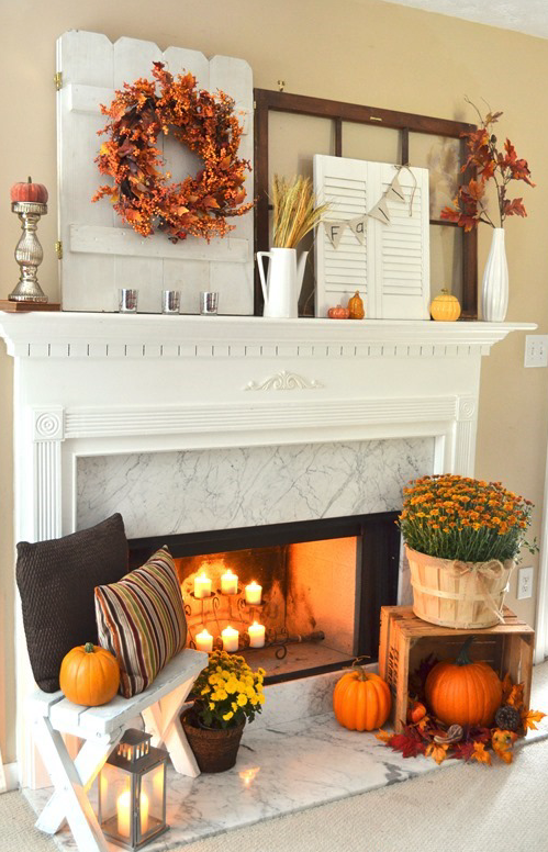 Use these tips to up your fall spirit this simple autumn mantel do it yourself layered and non centered fall mantel inspiration home decor ideas for autumn via the frugal homemaker solutioingenieria Choice Image