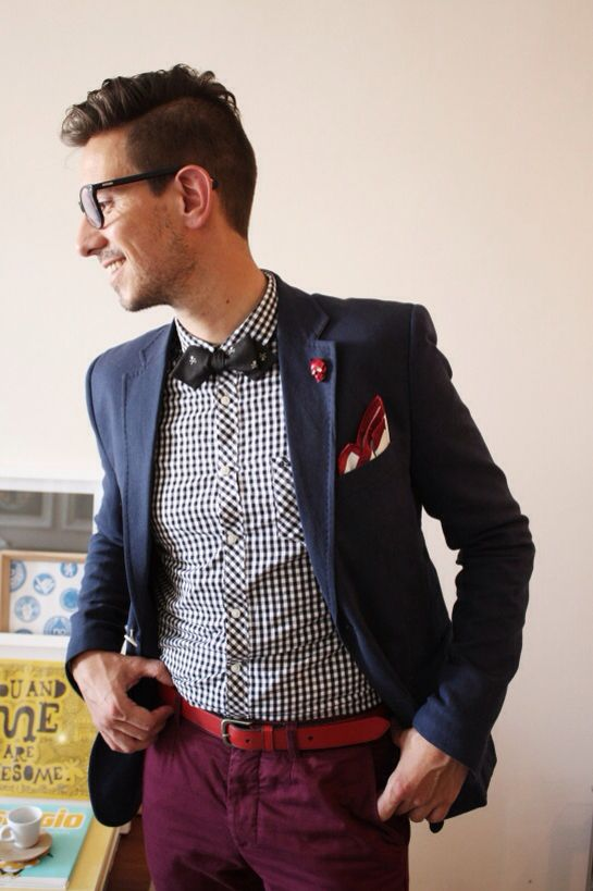 Blue Blazer Jacket Red Gingham Shirt Bow Tie Red Pants