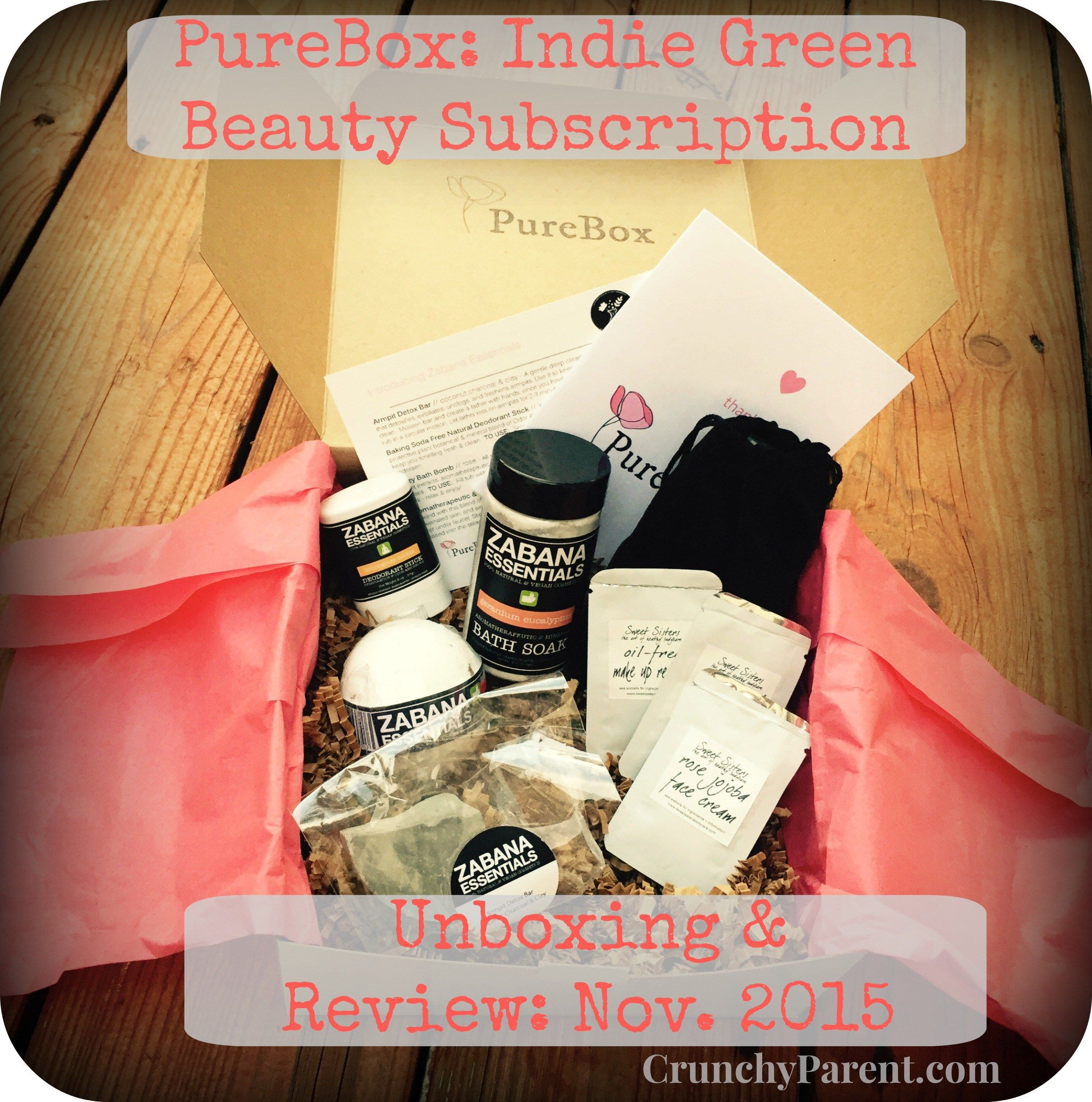 CrunchyParent PureBox Indie Green Beauty Subscription Unboxing and Review November 2015