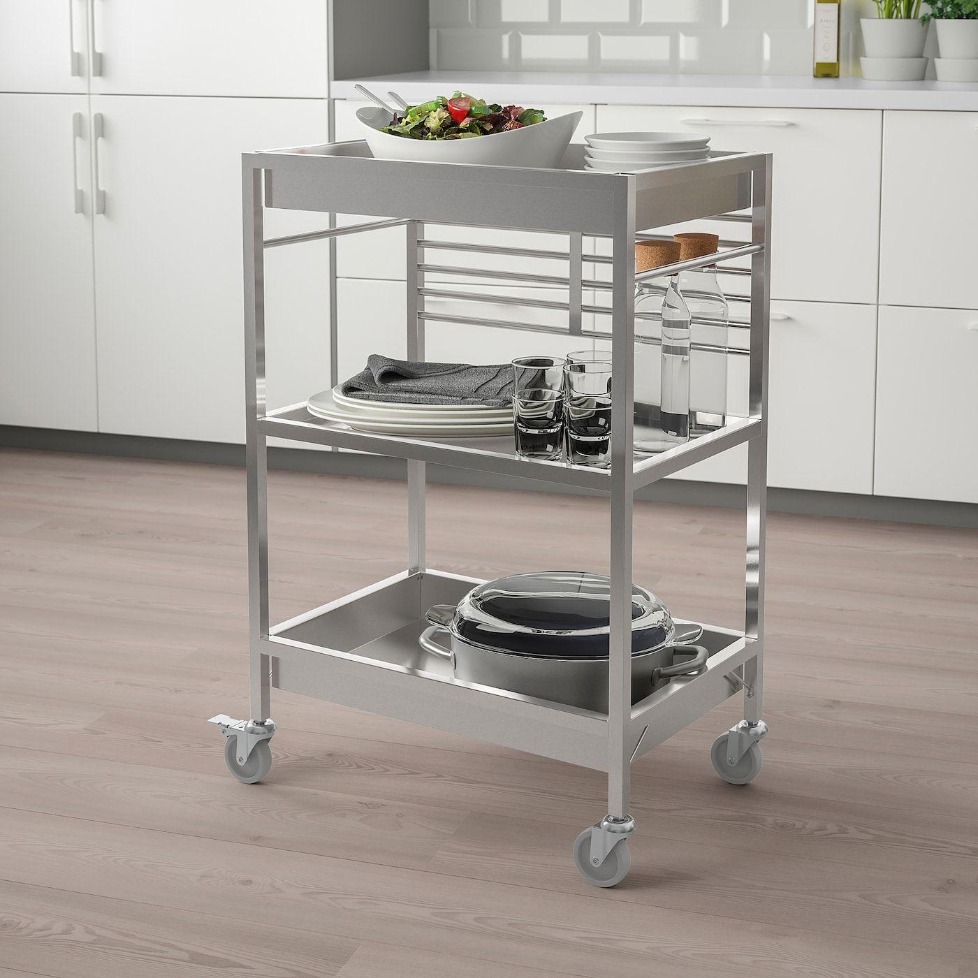 Kungsfors Servierwagen Edelstahl 60x40 Cm Ikea Osterreich Kitchen Cart Kitchen Fittings Kitchen Storage