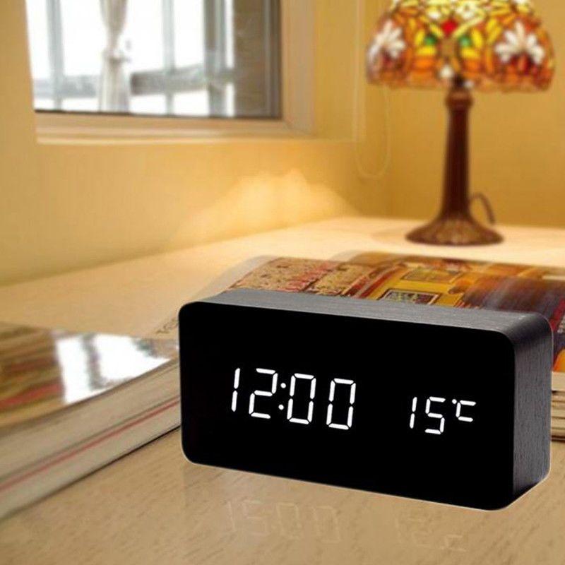 New Cube Wooden Clock Voice Control Digital Alarm Clock Radio Led