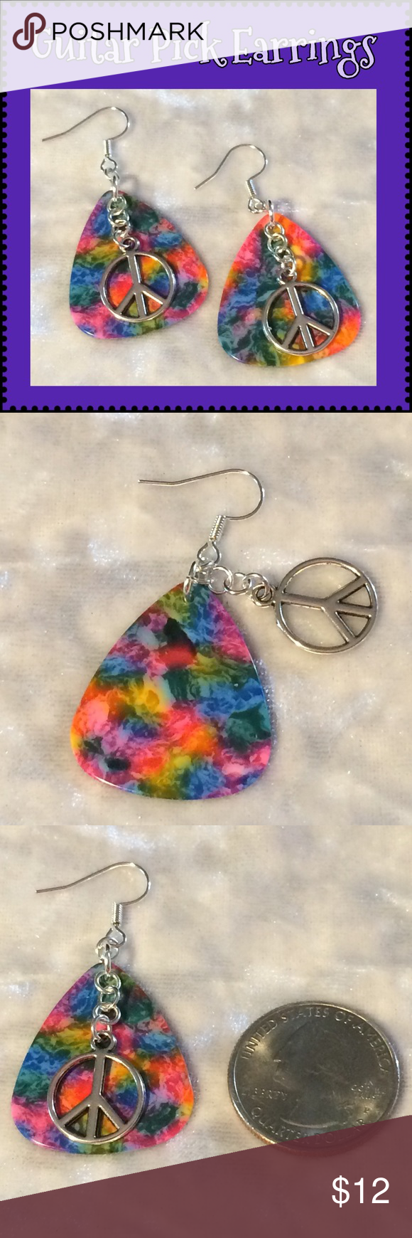 Download Tie Dye Guitar Pick Hippie Peace Sign Earrings These ...