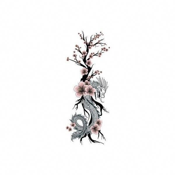 Japanese Dragon Flower Tattoo Cherry Blossom Liked On Polyvore Featuring Acc Acc Blos In 2020 Small Dragon Tattoos Dragon Tattoo For Women Cherry Blossom Tattoo