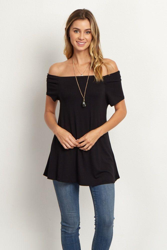 52348114963b3 Black Off-the-Shoulder Short Sleeve Top Black Off Shoulder Top