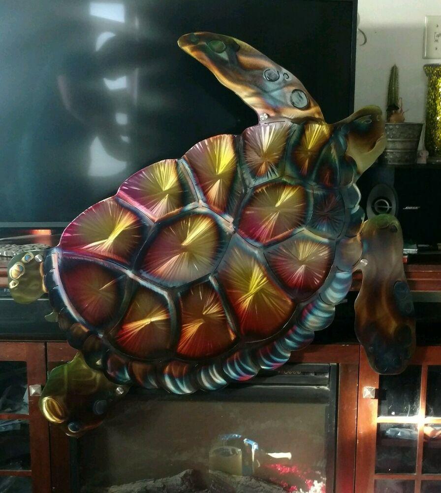 Large Metal Wall Art Sea Turtle Indoor Outdoor Sea Life Beach