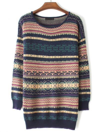 Blue Long Sleeve Striped Vintage Totem Sweater
