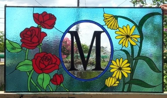 "Custom Made Stained Glass Window Panel - ""Roses & Black Eyed Susans"""