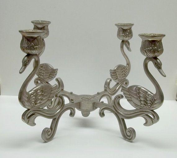 Check out Vintage silver metal quadruple swan candle holder on recupefashionnstuff