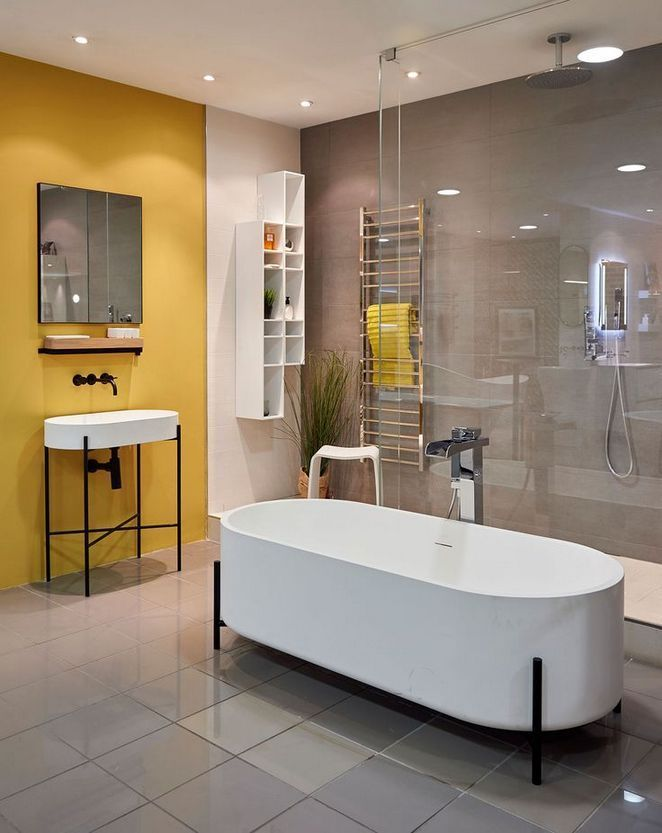 Photo of 45+ Unusual Facts About Yellow and Grey Bathroom Check more at pecansthomedecor….
