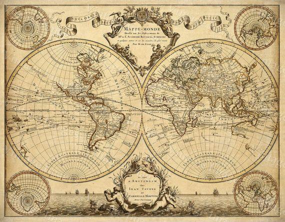 Carte geografique Déco \ Réno! Pinterest Doors, Wallpaper and - new antique world map images