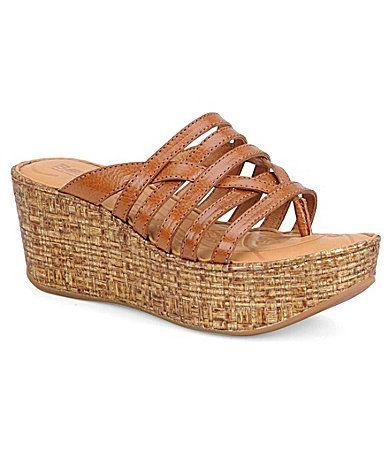 Born Hanae Wedge Slide Sandals leather tan, black 2.5h (99.00) NA