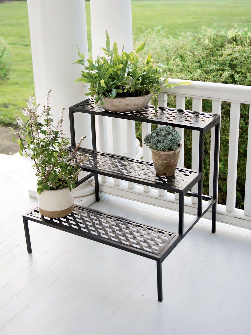 Lattice Multi Tiered Plant Stand Black Gardener S Supply