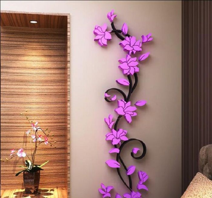 D Vase Flower Tree Crystal Arcylic Wall Sticker Home Room TV - Butterfly wall decals 3daliexpresscombuy d butterfly wall decor wall sticker