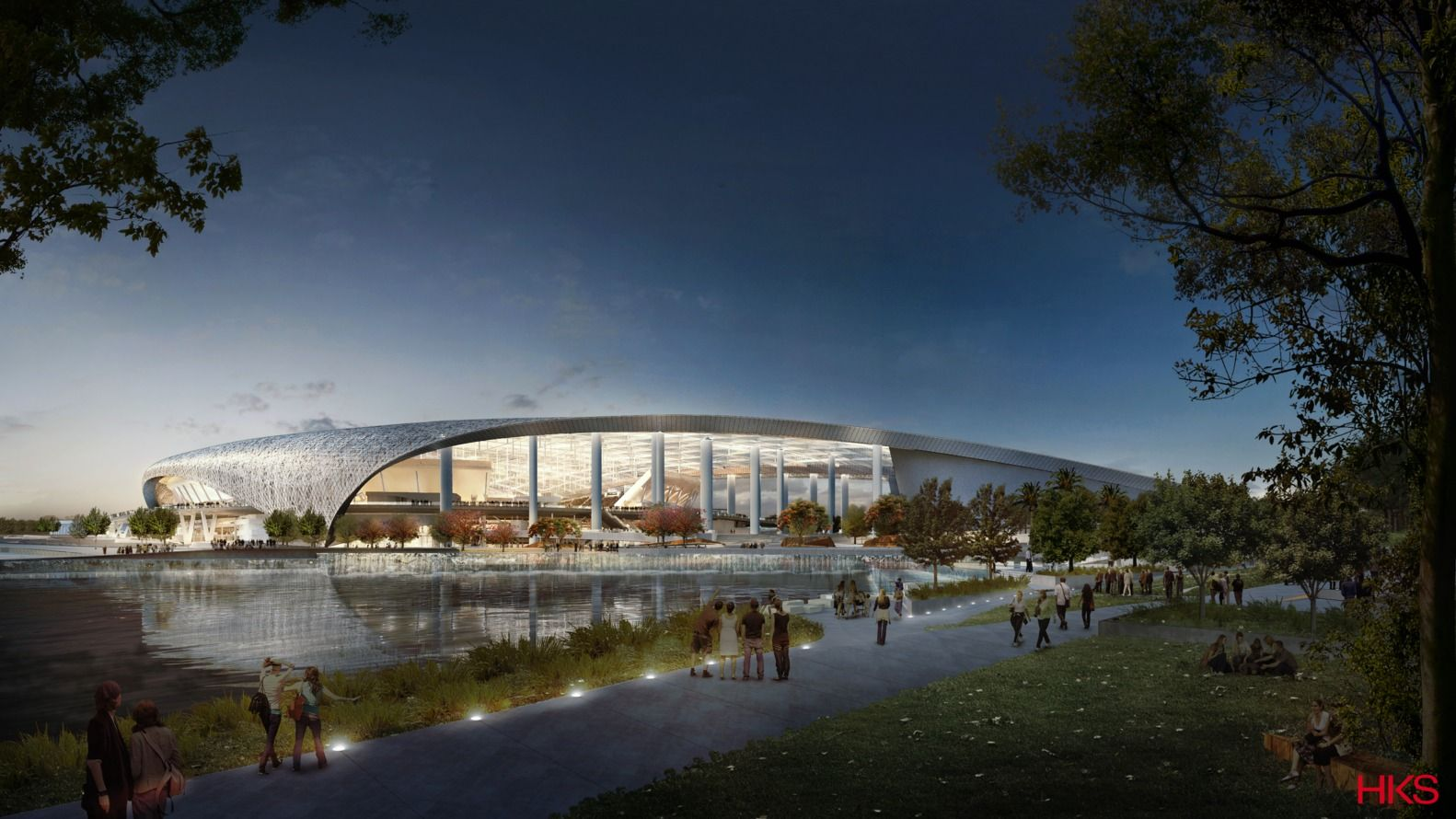 Gallery Of Hks Designed L A Stadium Will Be The Largest In The Nfl 1 Stadium Architecture Stadium Los Angeles Rams