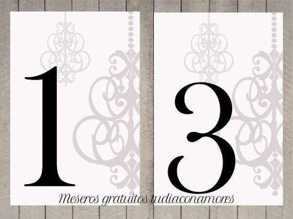 Números de mesa imprimibles gratuitos. 20 meseros para imprimir y ...