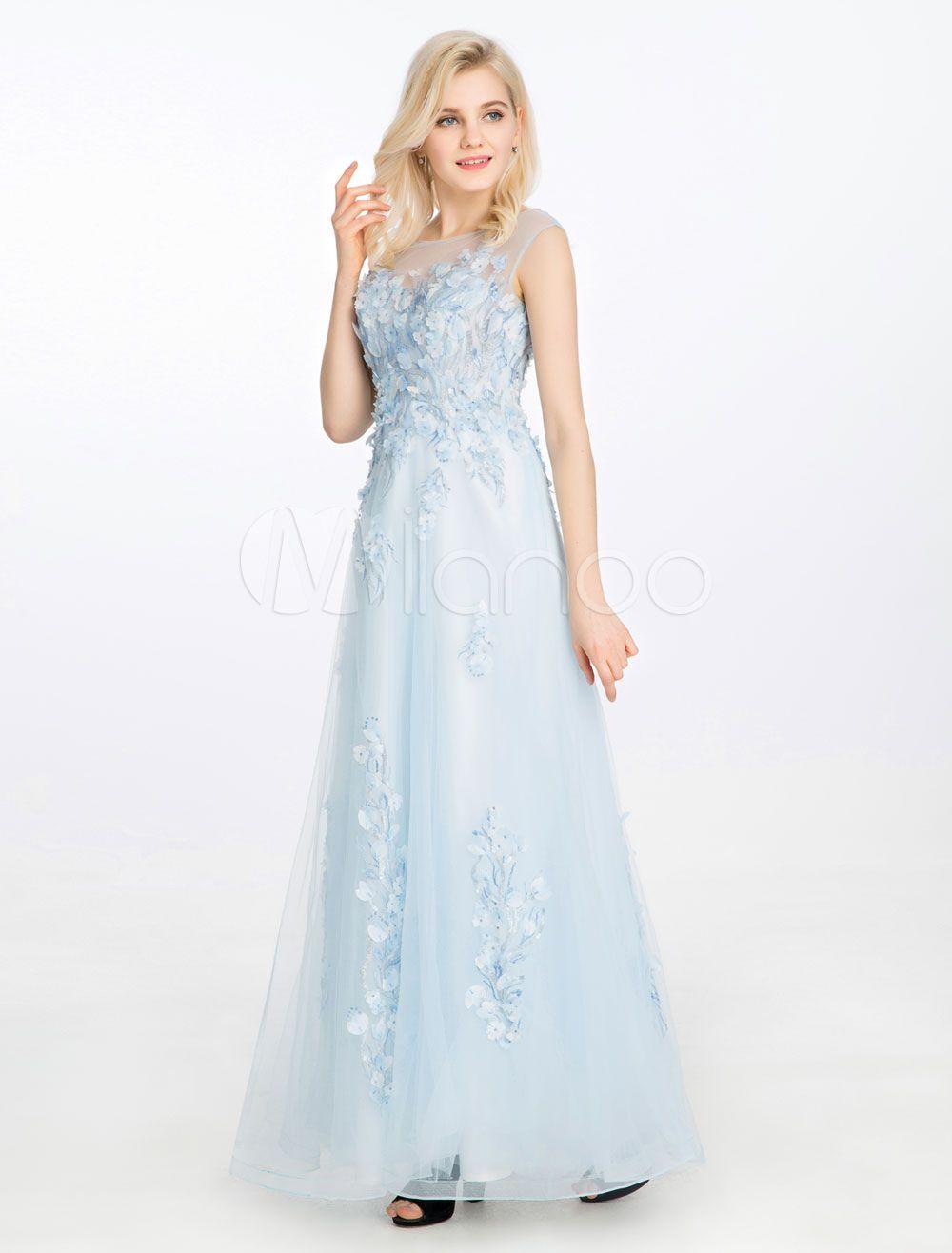 Blue prom dress lace d flowers applique party dress sweetheart