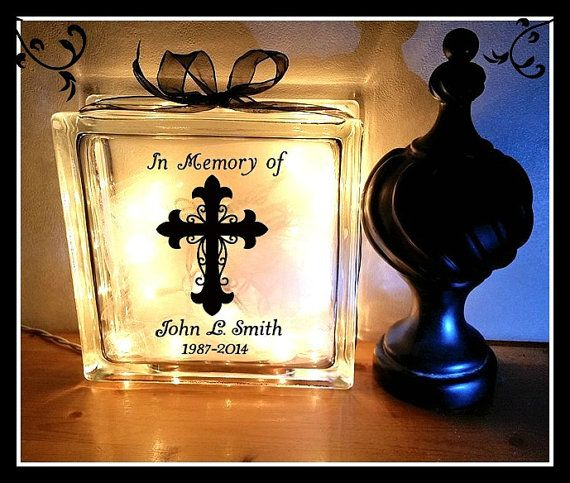 Personalised Lighted Glass Block-Choice of designs Remembrance Memorial Gift