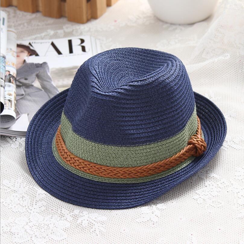 0d282664 2018 Summer Jazz Women Straw Hat Beach Men Sun Hat Casual Panama Male Cap  Hemp Rope Patchwork Striped Straw Hat Visor Cap