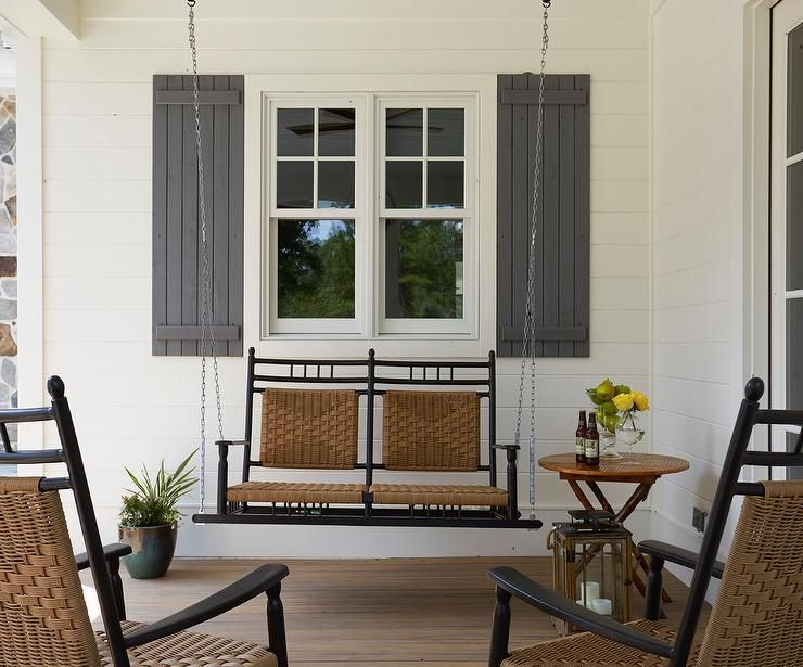 Black Swinging Porch Sofa With Wicker Seats Morning Star Builders